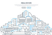 Real estate - modern line design style web banner on white background with copy space for your text. High quality composition with cityscape, housing complex, buildings, shops, cars on the road