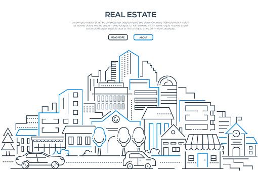 Real Estate Modern Line Design Style Web Banner — стоковая векторная графика и другие изображения на тему Автомобиль