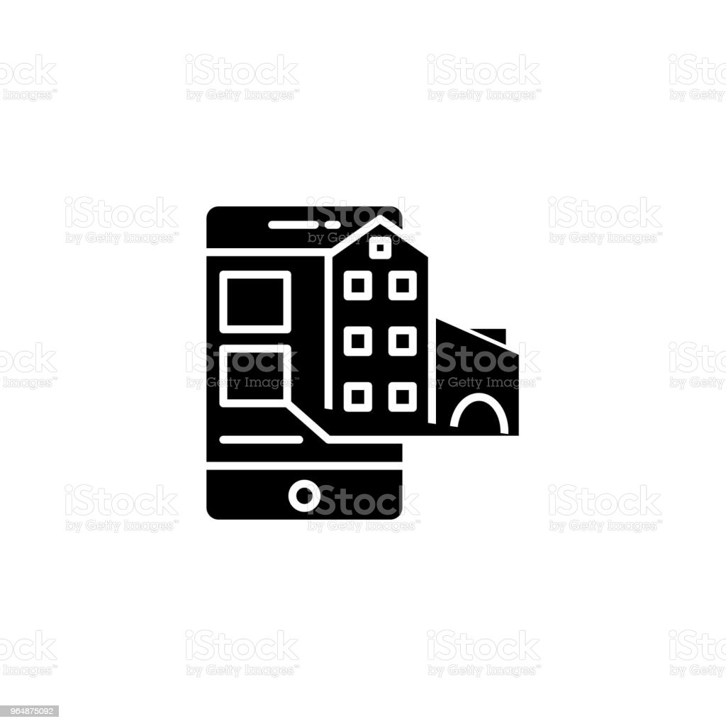 Real estate offers black icon concept. Real estate offers flat  vector symbol, sign, illustration. royalty-free real estate offers black icon concept real estate offers flat vector symbol sign illustration stock vector art & more images of apartment