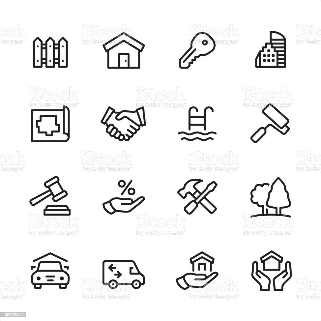 Real Estate - outline icon set vector art illustration
