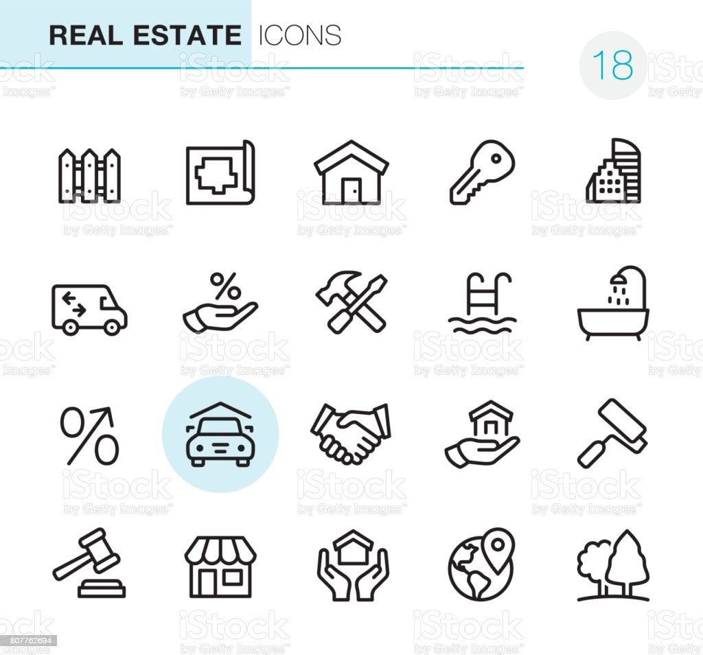 Real Estate - Pixel Perfect icons vector art illustration
