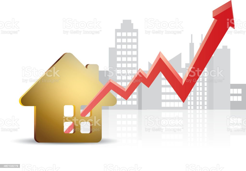 Real estate prices are on the rise royalty-free stock vector art
