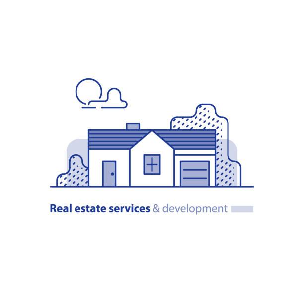illustrations, cliparts, dessins animés et icônes de immobilier, construction résidentielle, maison de campagne, extérieur de maison - nouveau foyer