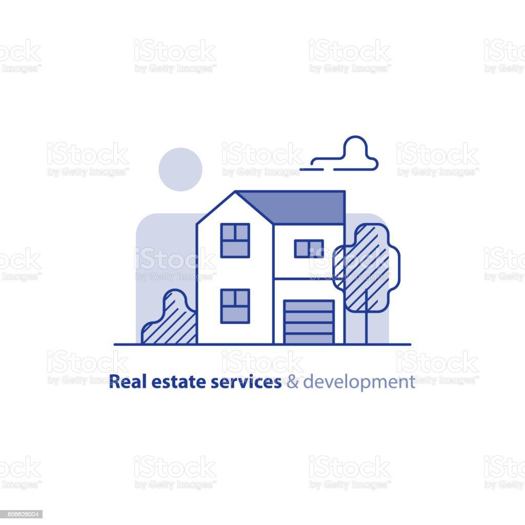Immobilier, construction résidentielle, maison de campagne, extérieur de maison - Illustration vectorielle
