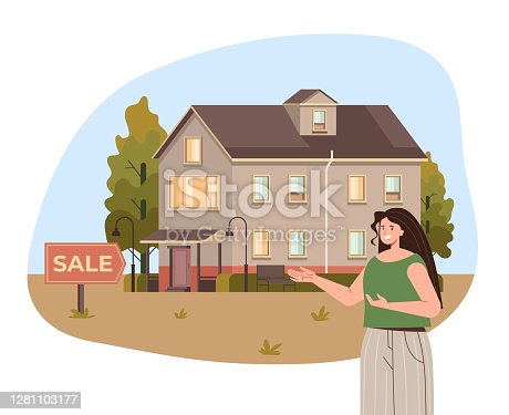 istock Real estate property woman agent character shoeing house for sale. Vector flat graphic design illustration 1281103177
