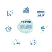 Real Estate Related Line Icons. Modern Line Style Design Elements.