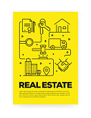 Real Estate Related Line Style Cover Design for Annual Report, Flyer, Brochure.