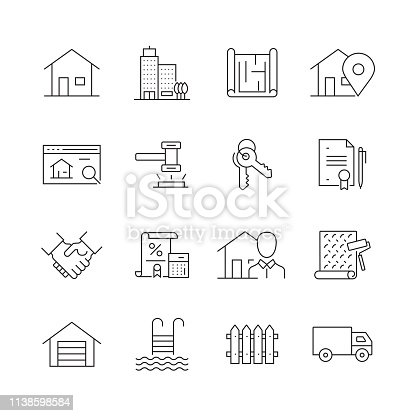 Real Estate Related - Set of Thin Line Vector Icons