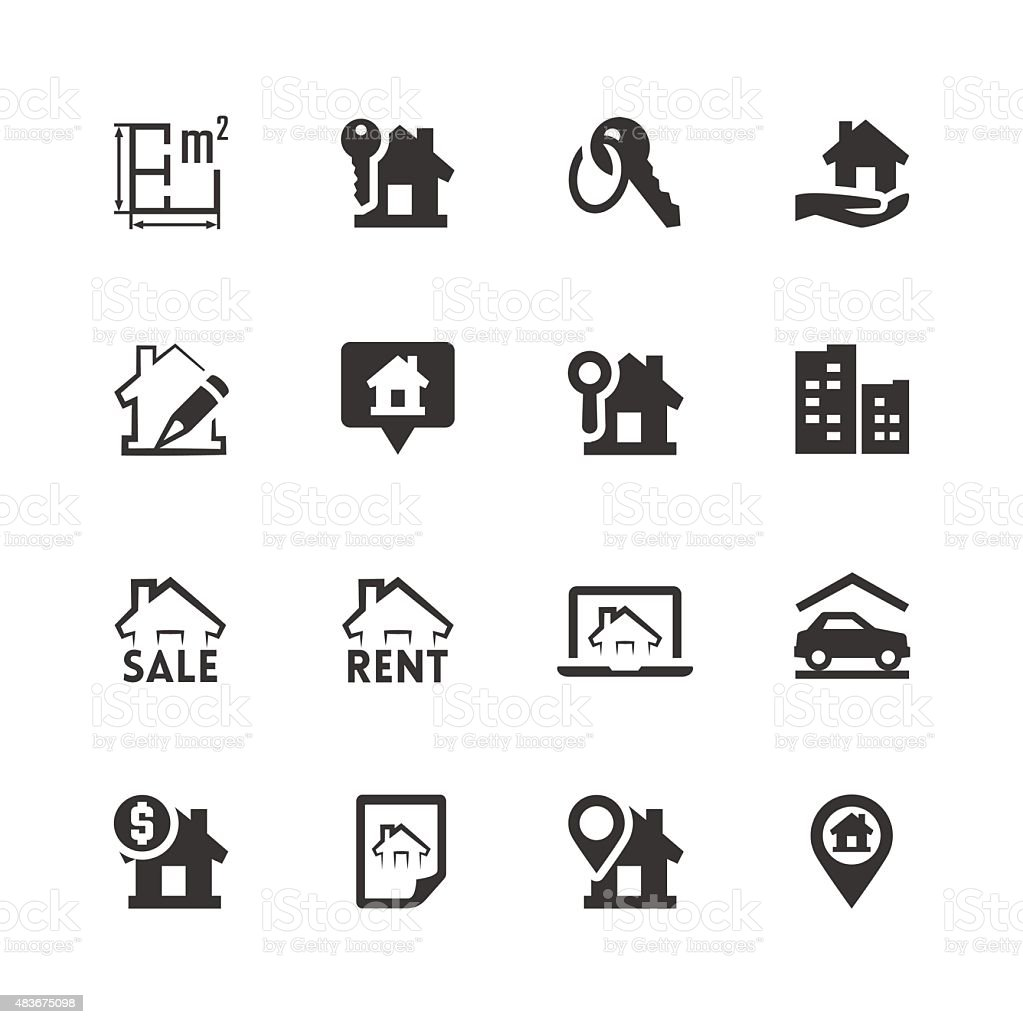 Real estate related vector icons set vector art illustration