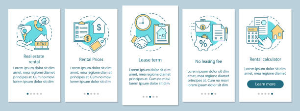 Real estate rental onboarding mobile app page screen with linear concepts Real estate rental onboarding mobile app page screen with linear concepts. Choose housing type, price, term walkthrough steps graphic instructions. UX, UI, GUI vector template with illustrations lease agreement stock illustrations