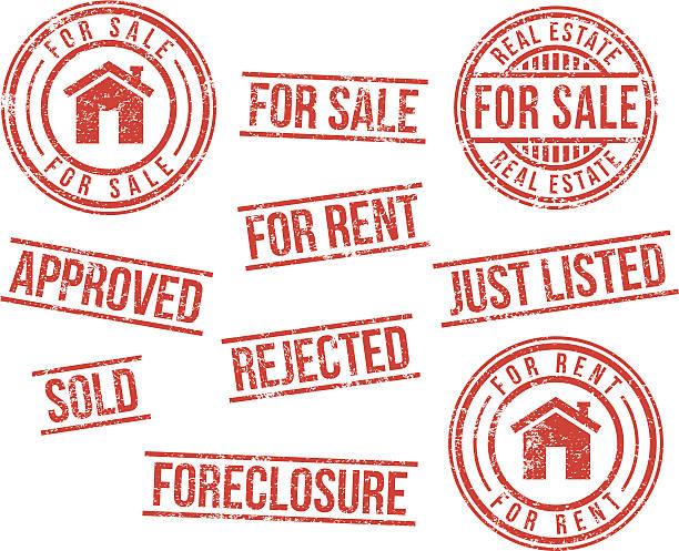 Real estate rubber stamps vector art illustration