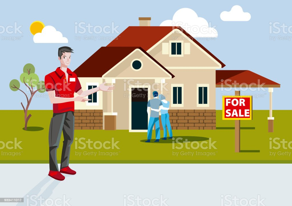 real estate salesman showing a recent construction house vector art illustration