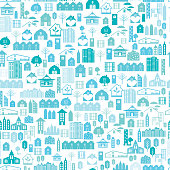Real Estate Seamless pattern Vector Illustration