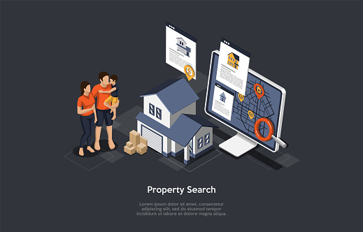 Real Estate Searching Concept. Young Family Mother, Father And Son Searching House For Buying Or Rent On The Internet. Model Of House Exterior With Garage. Isometric 3D Cartoon Vector Illustration