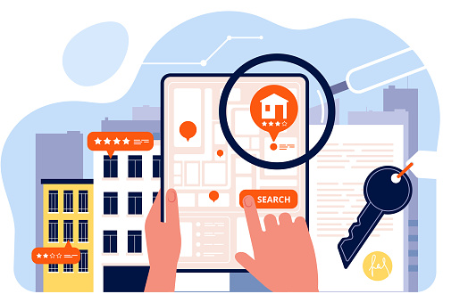 Real estate searching. Houses rent viewing on mobile device screen app search house vector concept isometric