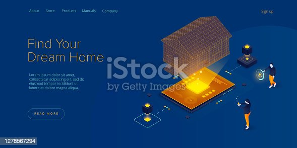 Real estate searching service app. Property mortgage or loan concept in isometric vector illustration. Home buying or property rent payment system. Web banner for finding house application.
