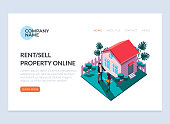 Real estate sell and rent property house concept. Vector design graphic flat cartoon web page loading banner