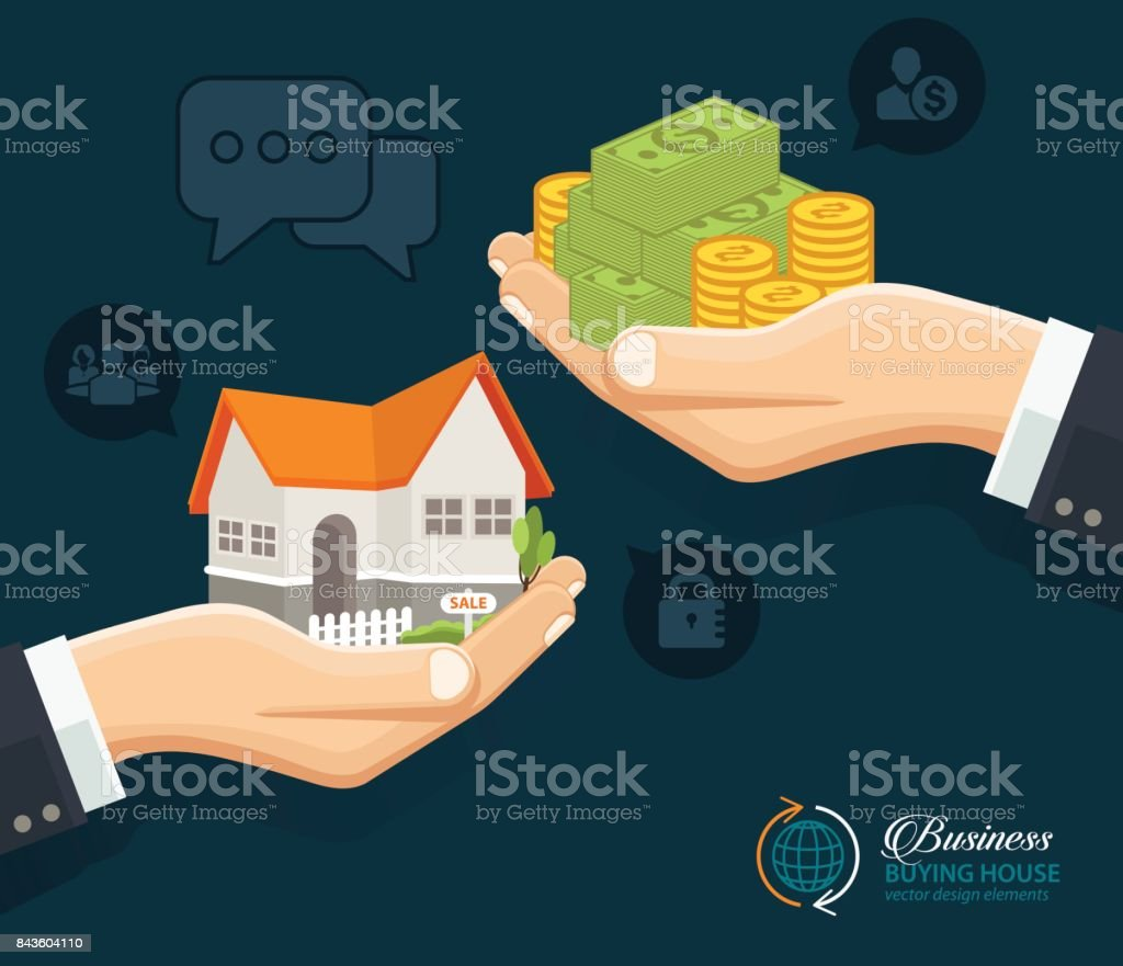 Servicios de bienes raíces. Comprar inmobiliaria Alquiler - ilustración de arte vectorial
