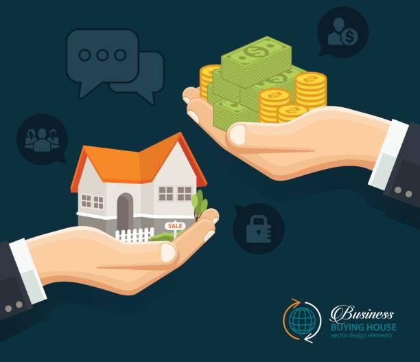 ilustraciones, imágenes clip art, dibujos animados e iconos de stock de servicios de bienes raíces. comprar inmobiliaria alquiler - hipotecas y préstamos
