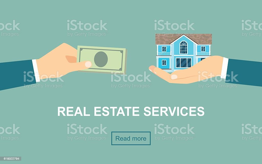 Real estate services. Vector flat illustration vector art illustration