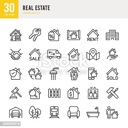 Real Estate set of thin line vector icons.