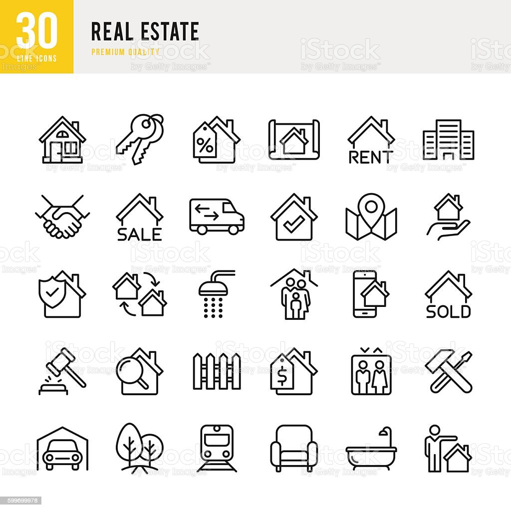 Real Estate - set of thin line vector icons - Illustration vectorielle