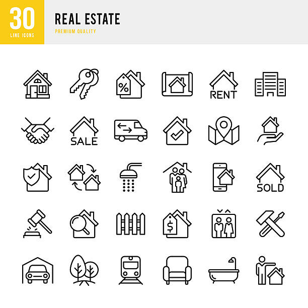 ilustraciones, imágenes clip art, dibujos animados e iconos de stock de real estate - set of thin line vector icons - home icon