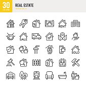 Real Estate - set of thin line vector icons
