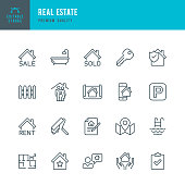 Set of Real Estate thin line vector icons.