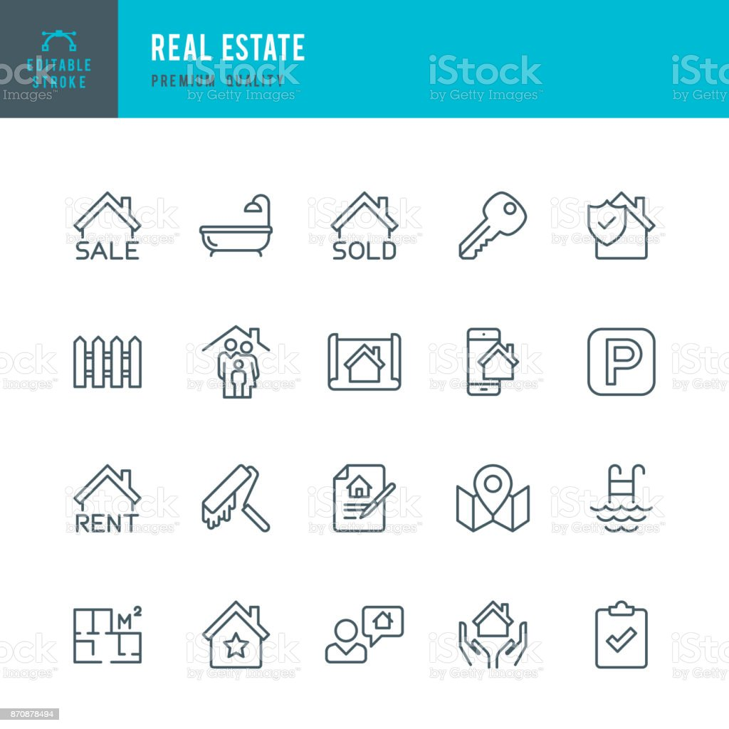 Real Estate - set of thin line vector icons vector art illustration