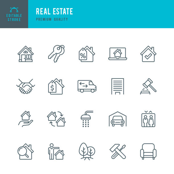 real estate - set of thin line vector icons - house stock illustrations