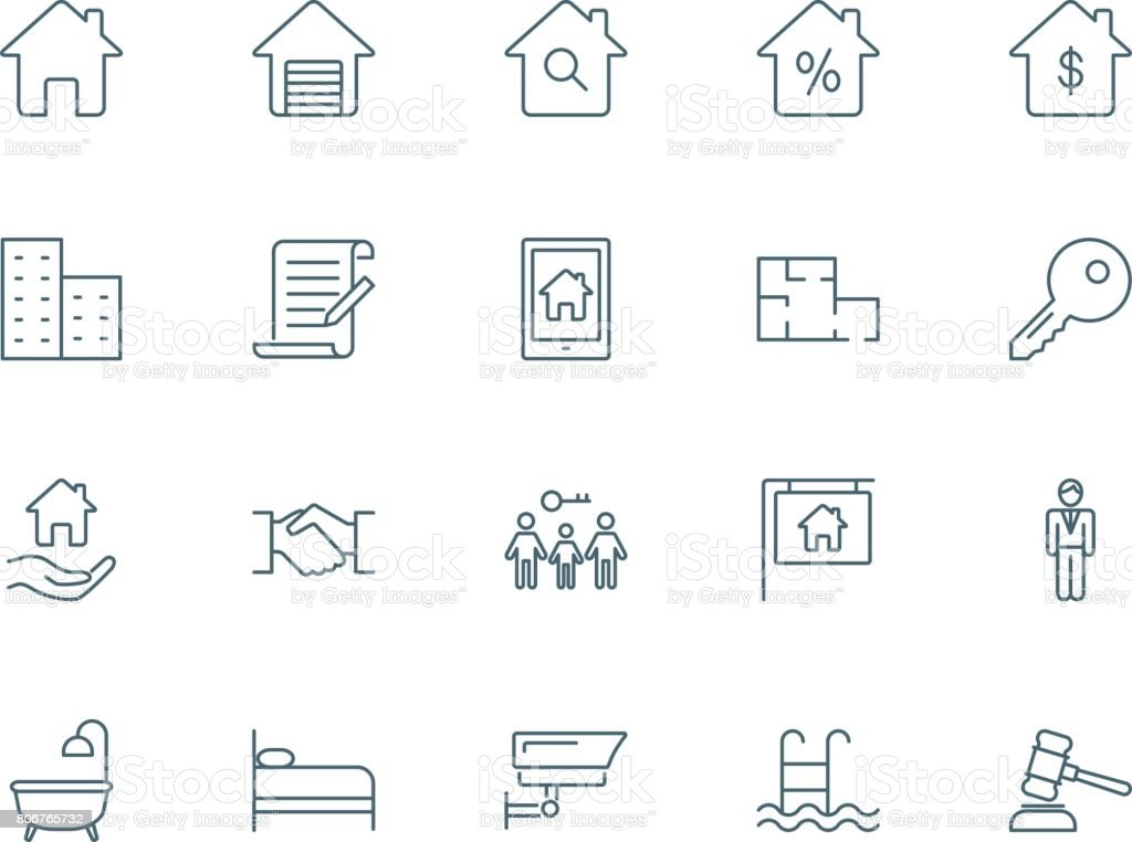 Real estate set of vector icons vector art illustration