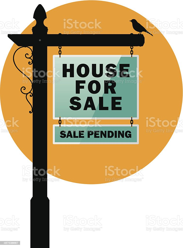 house for sale sign vector. real estate sign post house for sale royaltyfree stock vector art e