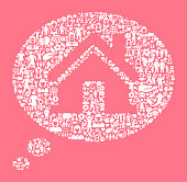 Real Estate Talk Women's Rights and Girl Power Icon Pattern. The outlines of the main shape are filled with various women's rights and girl power icons. The icons are white in color. They form a seamless pattern and work in unison to complete this composition. The individual icons include classic girl power imagery of women in various aspects of life and promote social equality and achievement.