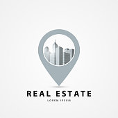 Real estate template. City in circle. Town concept