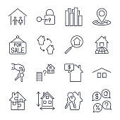 Real estate thin icons. Icons set with editable stroke. EPS 10