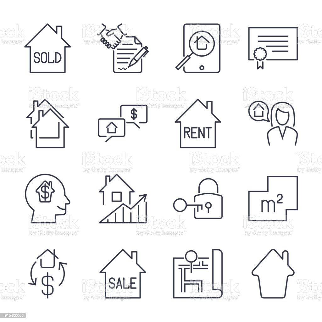 Real estate thin line art icons set residential and commercial real estate thin line art icons set residential and commercial building deals linear style biocorpaavc Image collections