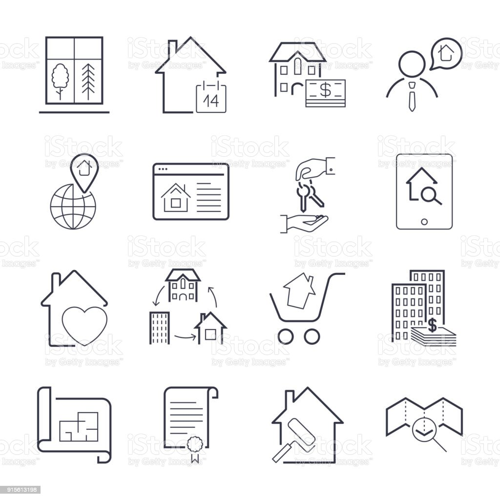 Real estate thin line art icons set. Residential and commercial building deals. Linear style symbols isolated on white. Icon set with editable stroke vector art illustration