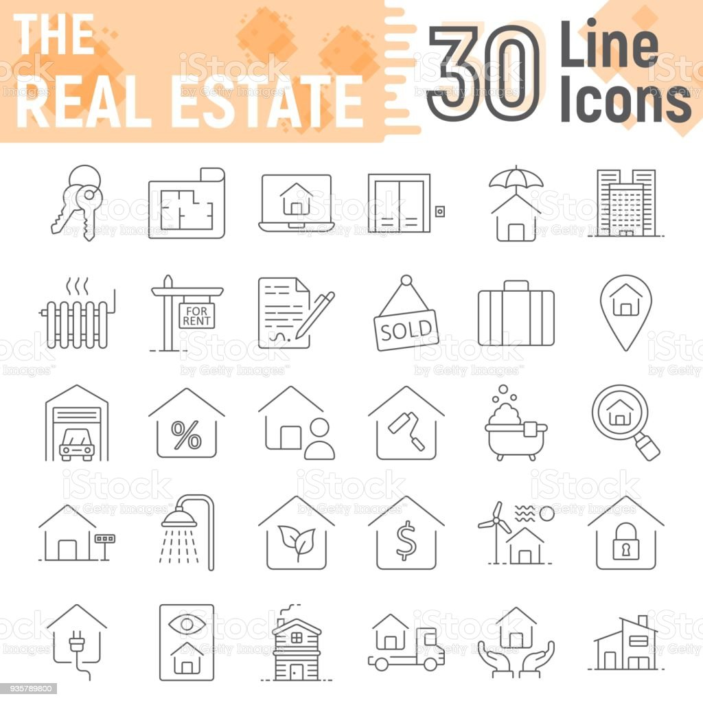 Real Estate Thin Line Icon Set Home Symbols Collection Vector