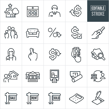 A set of real estate icons that include editable strokes or outlines using the EPS vector file. The icons include a house, house selection, calendar, male real estate agent, female real estate agent, rising costs, lower costs, family, furniture, low interest rate, mortgage, house key, fingers crossed, home search on smartphone, house search using a magnifying glass, real estate agent showing home, bank, moving truck, blueprint with floor plan, real estate sign, sale sign, rent sign, sold sign, calculator and a signed contract to name a few.