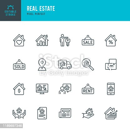 Real Estate - thin linear vector icon set. 20 linear icon. Editable stroke. Pixel perfect. The set contains icons: Home, Agreement, Sale, Rent, Real Estate Agent, Home Insurance, Location, Truck, Investment, Interest Rate.