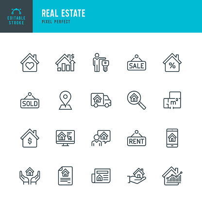 Real Estate - thin linear vector icon set. Editable stroke. Pixel perfect. The set contains icons Real Estate Agent, Home Insurance, Sale, Rent, Location, Truck.