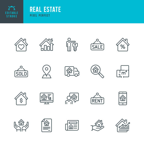 Real Estate - thin linear vector icon set. Editable stroke. Pixel perfect. The set contains icons Real Estate Agent, Home Insurance, Sale, Rent, Location, Truck. Real Estate - thin linear vector icon set. 20 linear icon. Editable stroke. Pixel perfect. The set contains icons: Home, Agreement, Sale, Rent, Real Estate Agent, Home Insurance, Location, Truck, Investment, Interest Rate. lease agreement stock illustrations