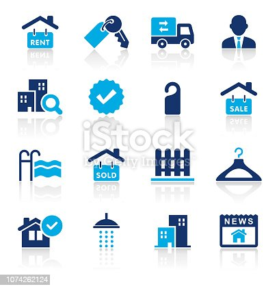 An illustration of real estate two color icons set for your web page, presentation, apps and design products. Vector format can be fully scalable & editable.