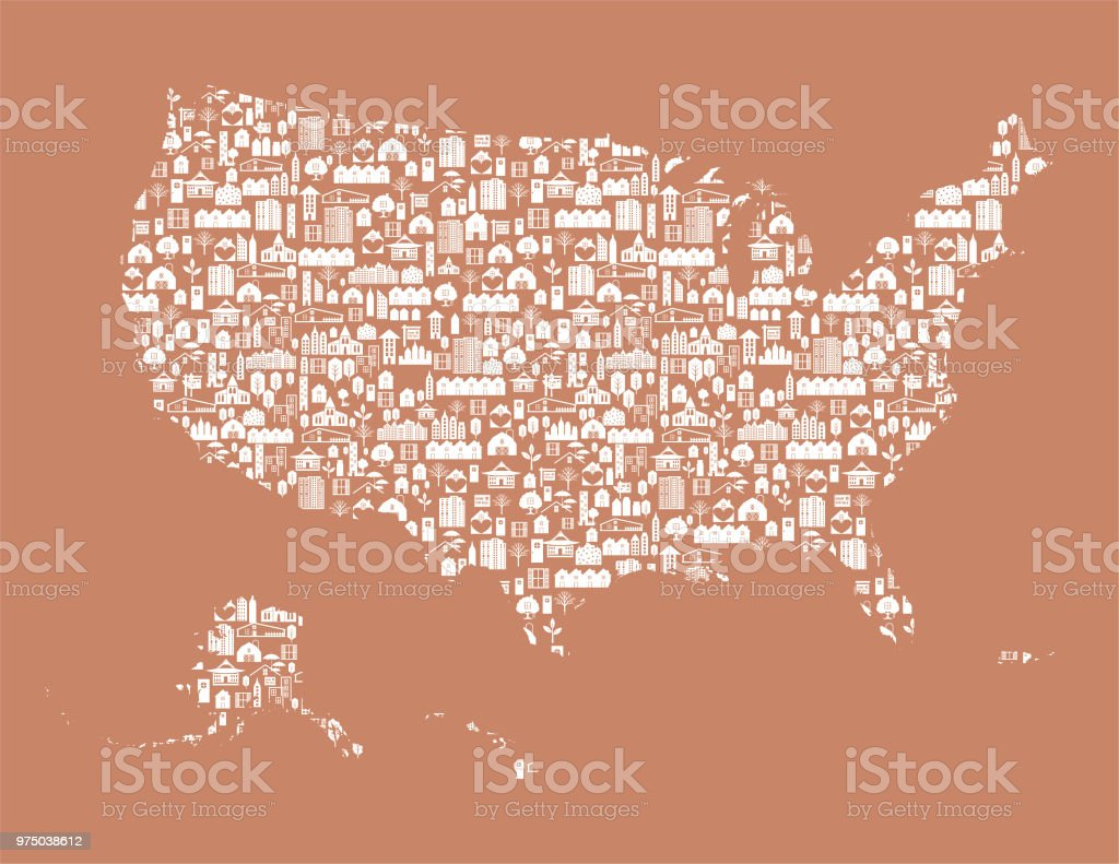 Real Estate United States Map Stock Vector Art & More Images of ...