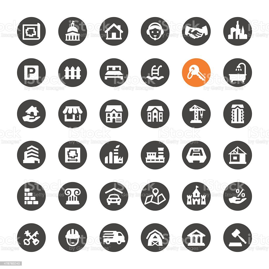Real Estate vector icons vector art illustration