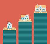 Real estate. House on stack of coins. Flat design business concept illustration.