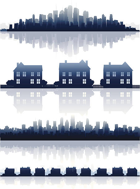 부동산 estate - suburbs stock illustrations