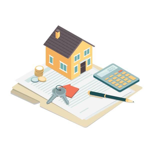 ilustraciones, imágenes clip art, dibujos animados e iconos de stock de bienes propiedad - hipotecas y préstamos