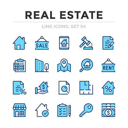 Real estate vector line icons set. Thin line design. Outline graphic elements, simple stroke symbols. Real estate icons